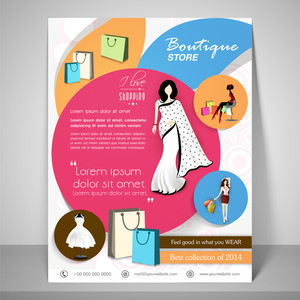 Colourful banner and flyer for boutique with young woman wearing saree stylish dress