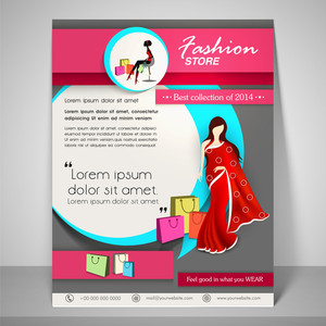 Colourful banner and flyer for fashion store with young fashionable girl wearing saree address bar