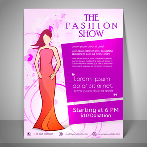 Colourful banner poster and flyer for fashion show with young fashionable girl wearing stylish dress