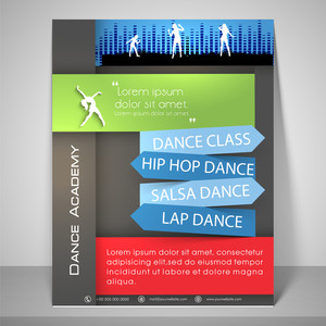 Colourful flyer for dance academy with dancing silhouette address bar
