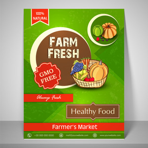 Colourful flyer or template for farm fresh farmer's market with image of fresh vegetables fruit and mailer.