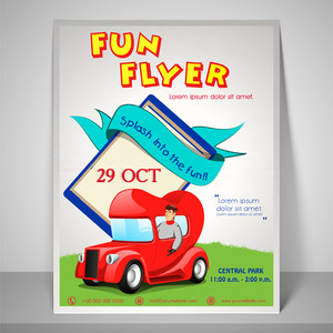 Colourful fun flyer with kiddish car adress bar