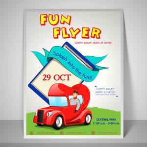 Colourful fun flyer with kiddish car adress bar