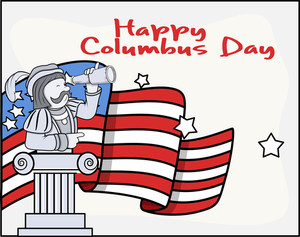Columbus Day Cartoon Graphic Banner