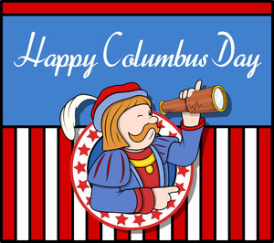 Columbus Day Cartoon Man Graphic Template