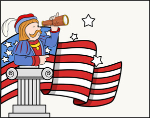 Columbus Day Cartoon Man With Binocular Flag Stand Vector Graphic