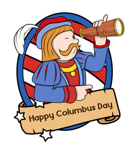 Columbus Day Cartoon Man With Telescope Vector