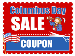 Columbus Day Coupon Vector Banner