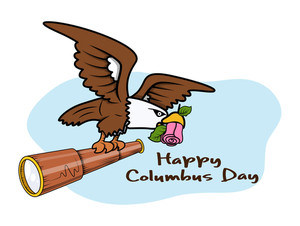 Columbus Day Eagle Bird With Binocular Vector