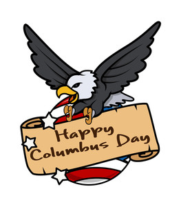 Columbus Day Eagle Globe Paper Banner