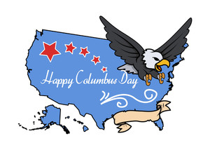 Columbus Day Eagle Map Banner