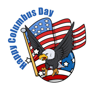 Columbus Day Eagle With Usa Flag Background