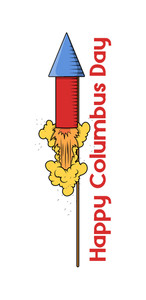 Columbus Day Firework Vector Banner