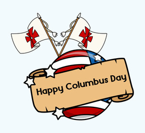 Columbus Day Flags Parchment Banner