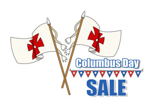 Columbus Day Flags Sale Banner
