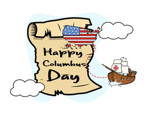 Columbus Day Parchment Banner Graphic