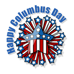 Columbus Day Retro Decorative Stars Banner