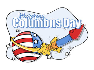 Columbus Day Retro Rocket Graphic Banner