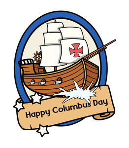 Columbus Day Retro Ship Parchment Banner