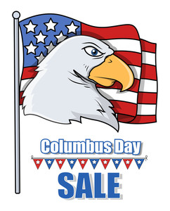 Columbus Day Sale  Banner With Eagle Head And Usa Flag Vector