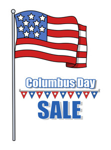Columbus Day Sale Banner With Flag