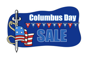Columbus Day Sale Banner With Sword Flag Vector