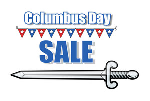 Columbus Day Sale Banner With Sword Vector