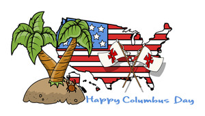 Columbus Day Tree And Usa Map And Flags Vector