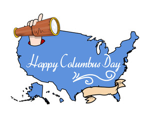 Columbus Day With Retro Telescope Banner Vector
