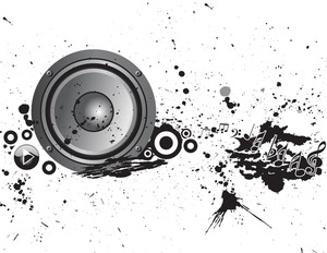Column Loudspeaker With Tunes On Grunge Background