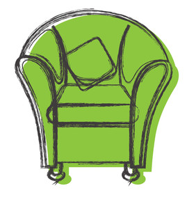 Comic Art Of Retro Sofa