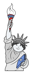 Comic Cartoon Statue Of Liberty Celebrating 4th Of July