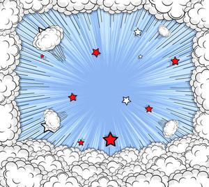 Comic Clouds Burst Background