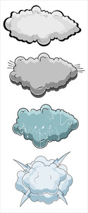 Comic Clouds Vector Illustration