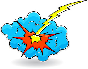 Comic Explosion Cloud Burst Vector Illustration