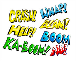 Comic Expression Vector Text Set