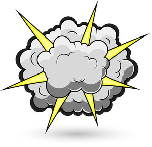 Comic Fighting Cloud Burst Vector Illustration
