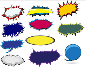Comic Text Backgrounds And Explosions Clouds Vector Banner