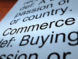Commerce Definition Closeup Showing Trading
