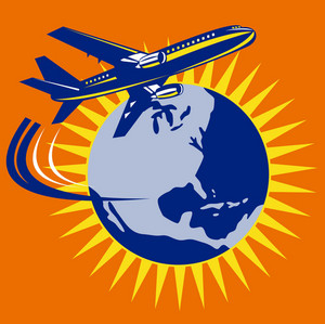 Commercial Jet Plane Airliner Flying Globe