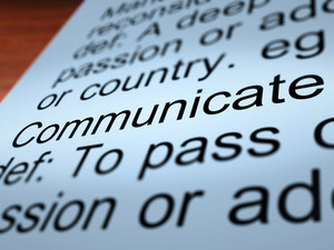 Communicate Definition Closeup Showing Dialog