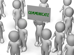 Communicate Sign Shows Speaker Or Discussion