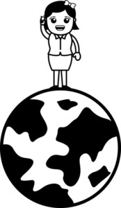 Communication Over Globe Concept - Vector Illustration