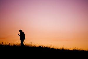 Communication - silhouette of man handle phone