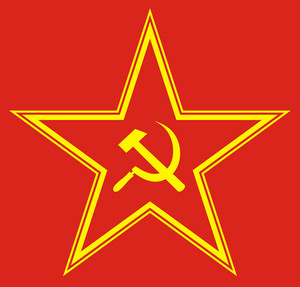 Communist Red Star With Hammer And Sickle On Red Background.