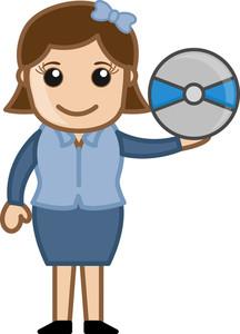 Compact Disk - Business Cartoons Vectors