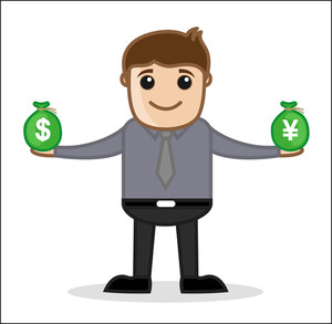 Comparing Currency - Office And Business Cartoon Character Vector Illustration Concept & Pose