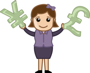 Comparing Two Currencies - Business Cartoon Character Vector