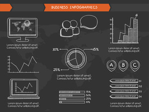 Complete set of various business infographics elements with statistical bars and graphs in chalkboard style.