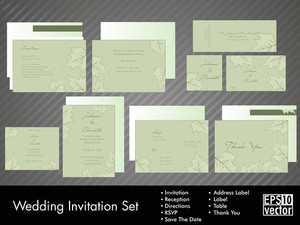 Complete Set Of Wedding Invitations Or Announcements With Floral Decorative Artwork.